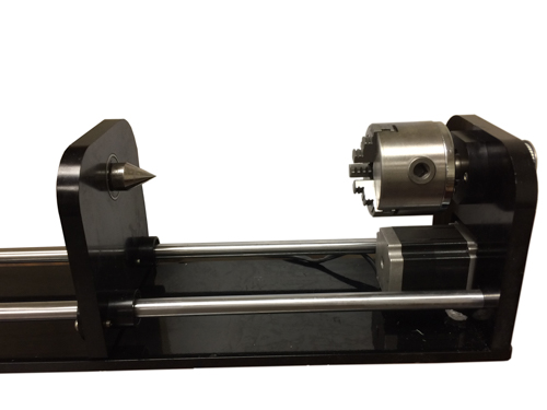 Rotary Attachment for 90W or bigger laser Machine, 3 Jaw Chuck and Blackplate