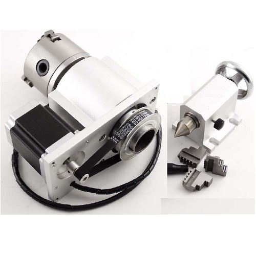 4 Axis with Head stock, Tail Stock, and Integrated Stepper Motor, 100 mm