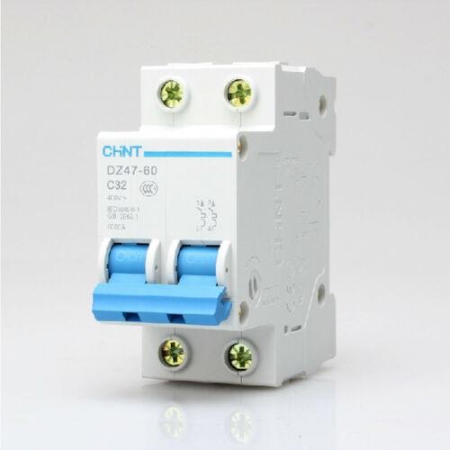 DZ47-60 C32 2 Pole 2P DIN Rail MCB Miniature Circuit Breaker 32A 400V AC