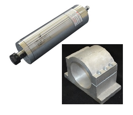 2200W 3HP Water Cooled CNC Milling Spindle, KL-2200T, for Metal and Aluminum, with  85 mm Mount Bracket Clamp