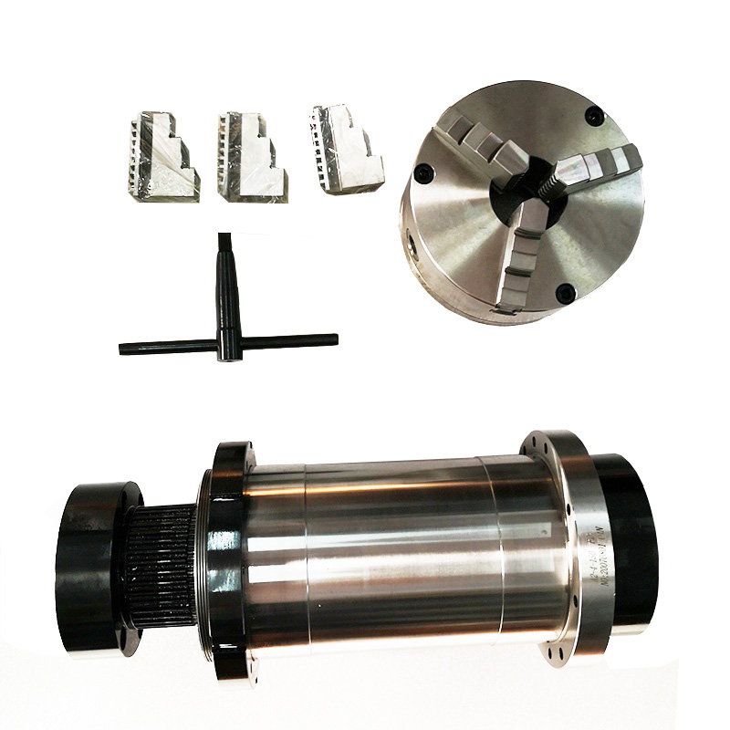 A2-4 6000RPM, OD 150mm, belt drive lathe turning spindle with three jaws chuck