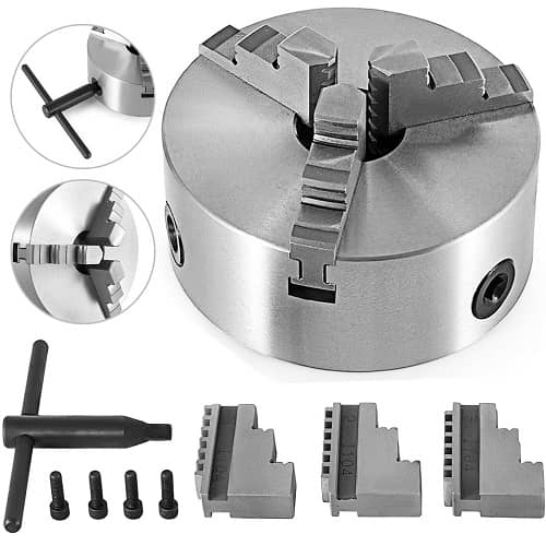4″ Self-centering 3 Jaw Lathe Chuck With Two Sets Of Jaws